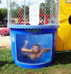 Smokey Hollow Campground Kids in Dunk Tank having fun