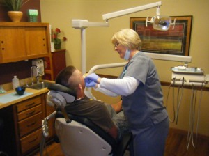 Dental Assistant working on mouthguard fitting - Lodi Valley Dental, Lodi WI