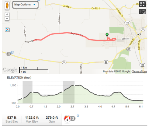 10K course Map Lodi Mother's Day Run